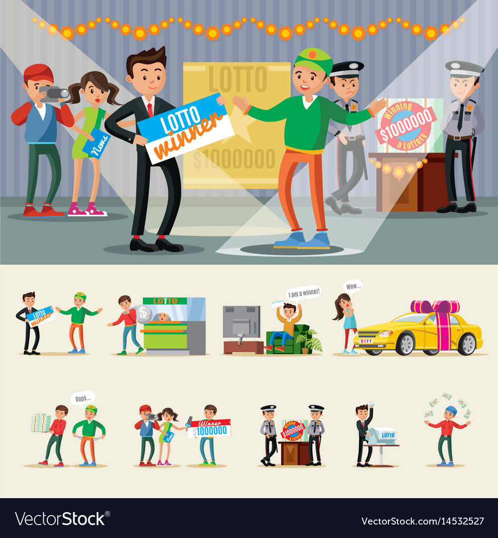 People winning lottery collection vector image