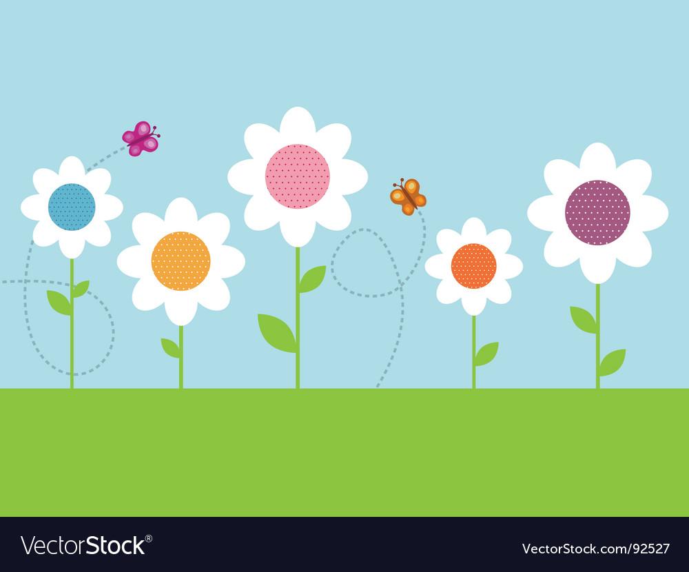 Polka dot daisies vector image
