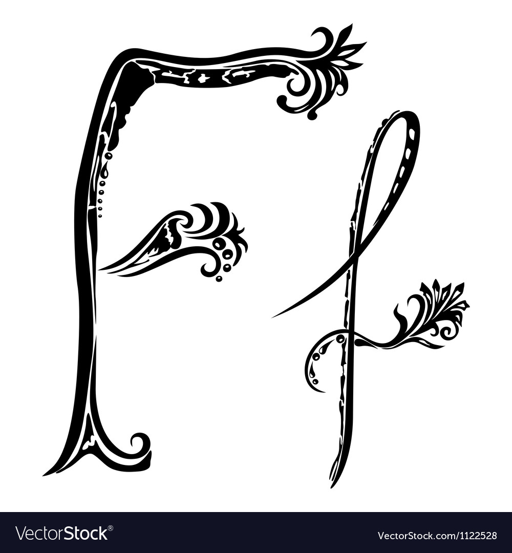 Letter F f vector image
