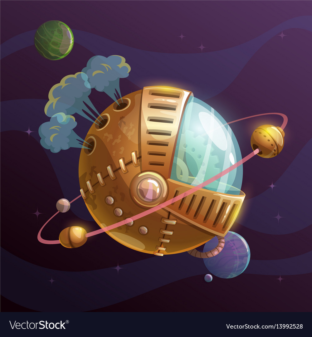 Fantasy steampunk planet on space background vector image