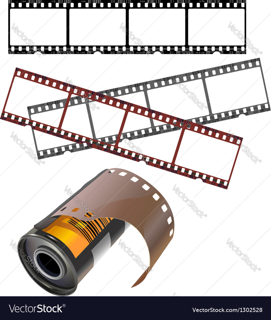 Negative films and film canister vector image
