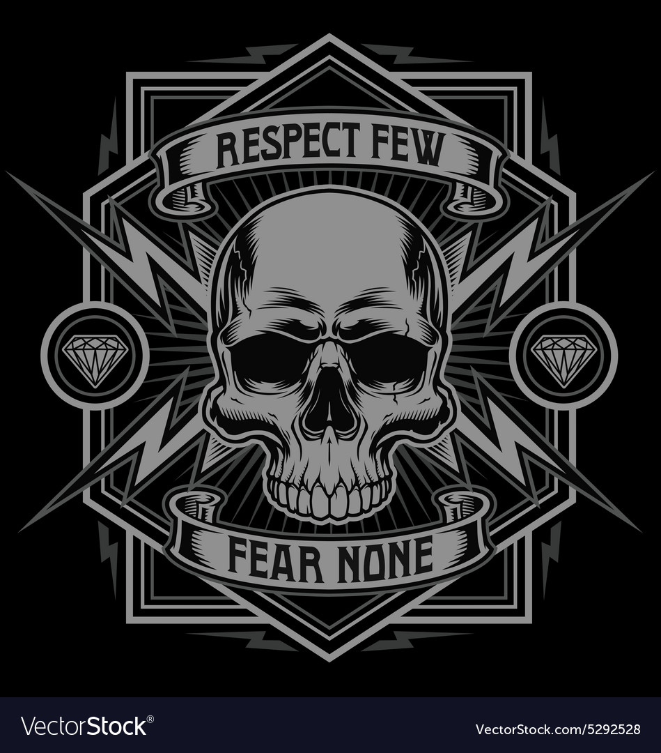Respect skull lightning graphic vector image