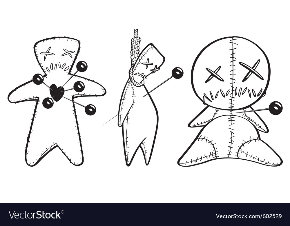 Black and white voodoo dolls Vector Image