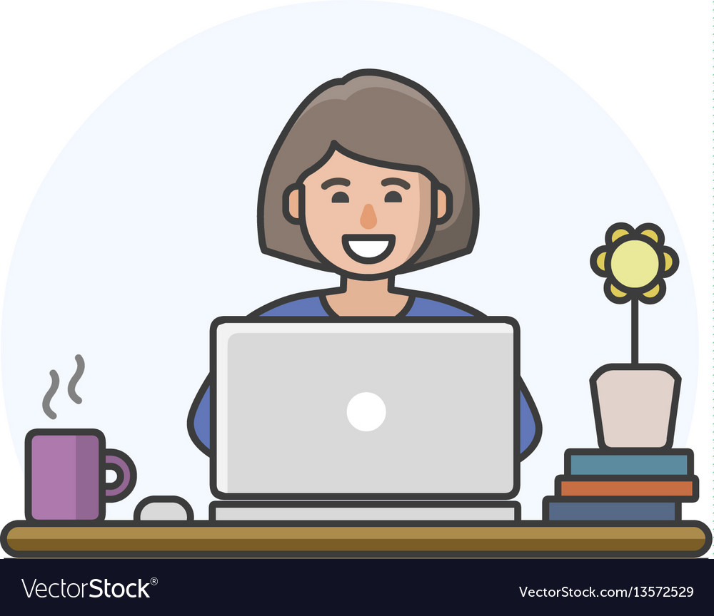 Cartoon woman character working on computer vector image