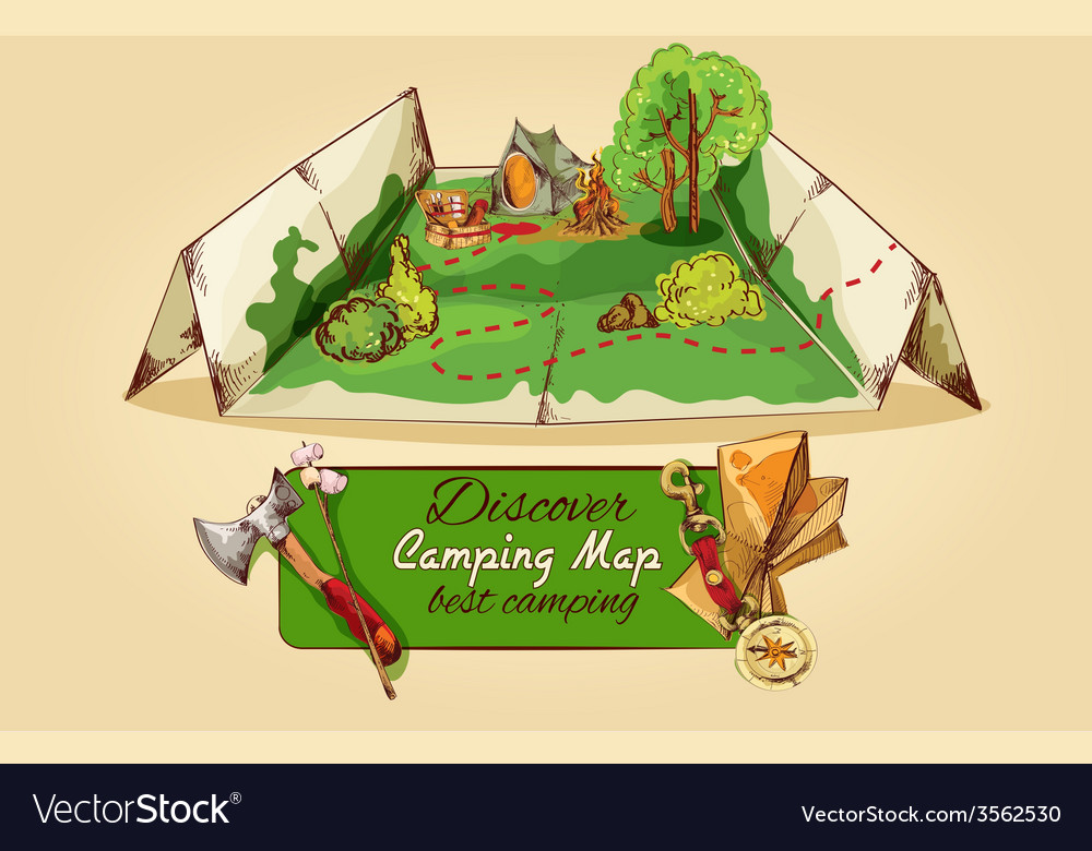 Camping Map Sketch vector image