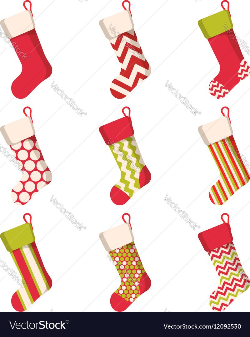 Christmas stocking set isolated on white vector image