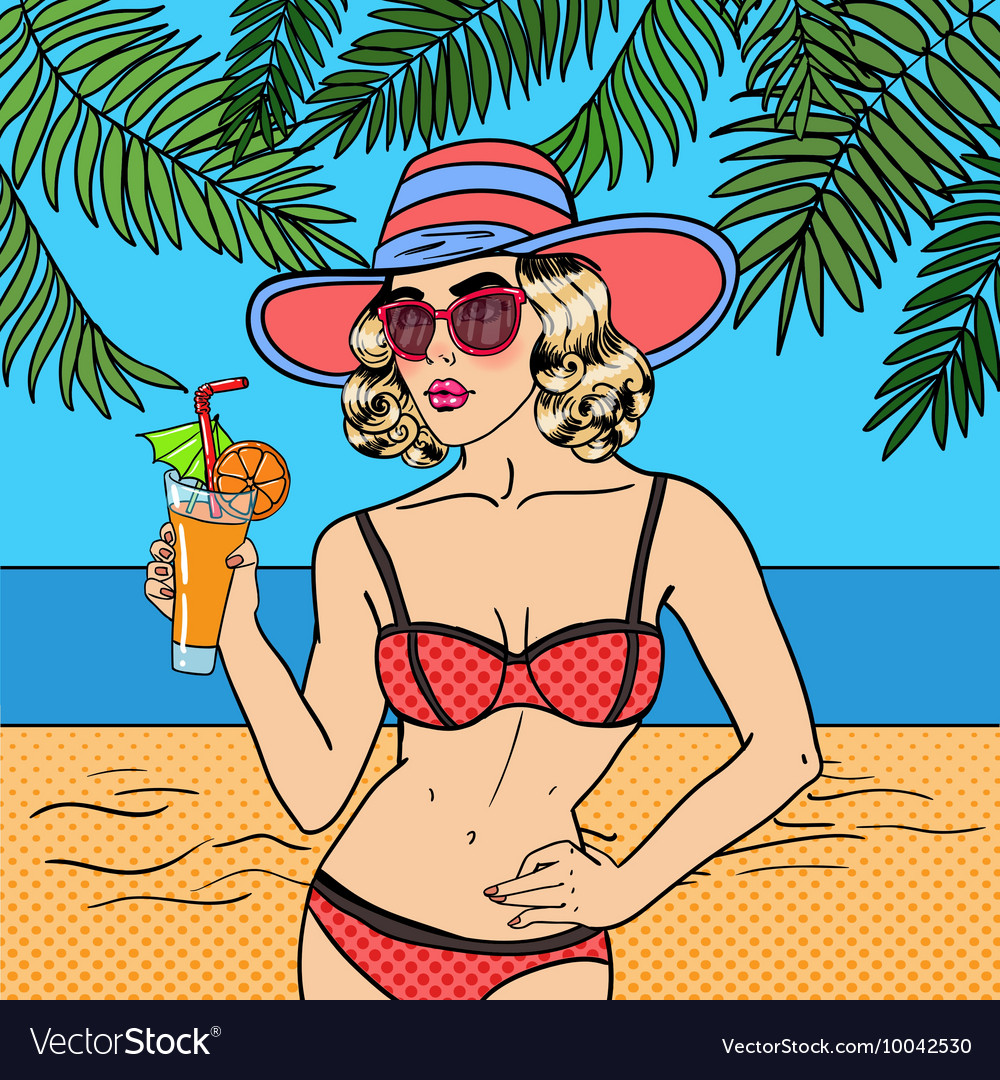 Woman in Swimsuit with Cocktail Pop Art vector image