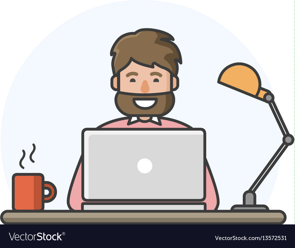 Happy man with beard working on computer vector image