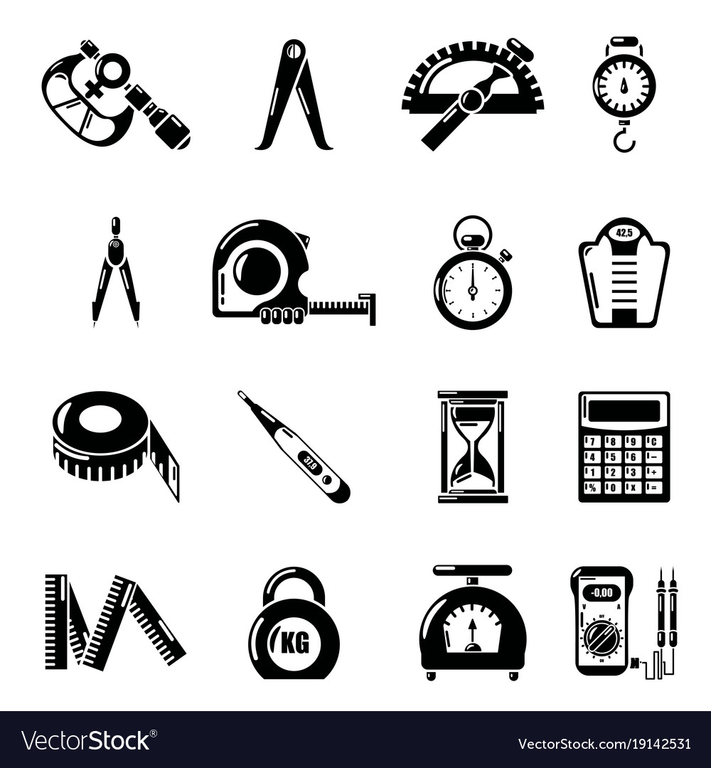 Measure precision icons set simple style vector image