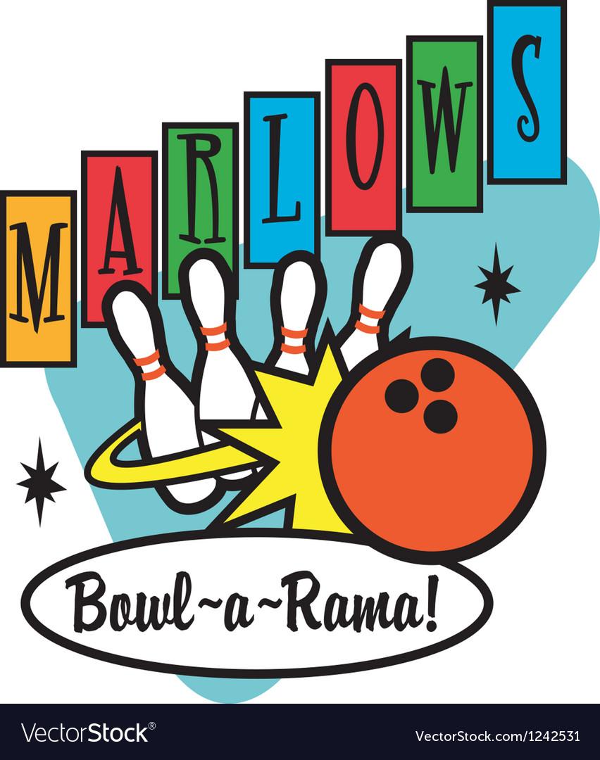 Retro Bowling Alley Signs vector image