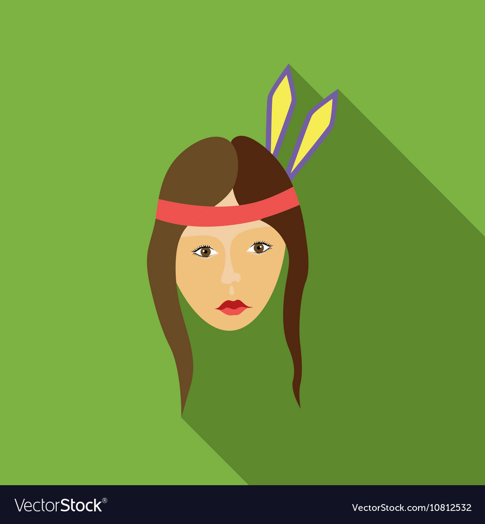 Girl american indians icon flat style vector image