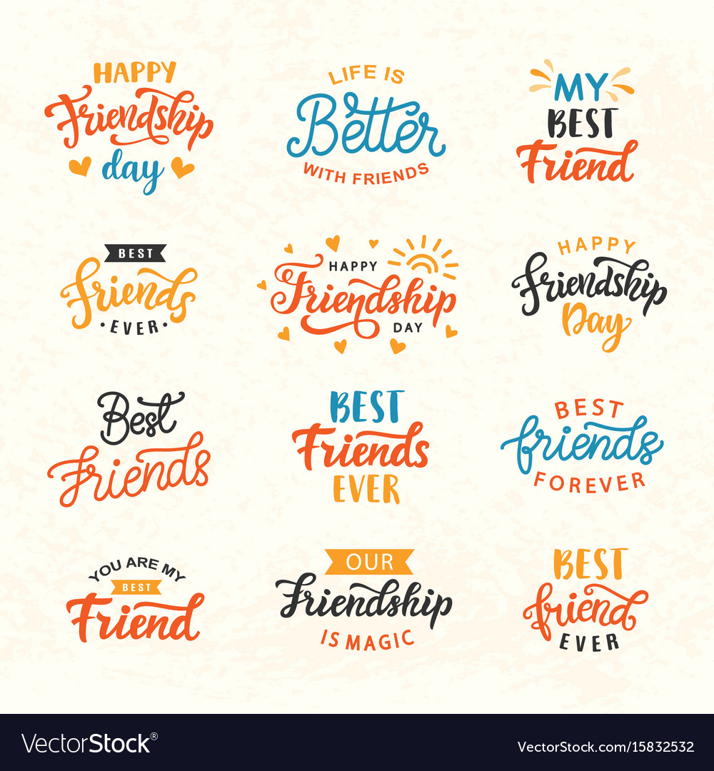 Happy friendship day hand lettering big set vector image