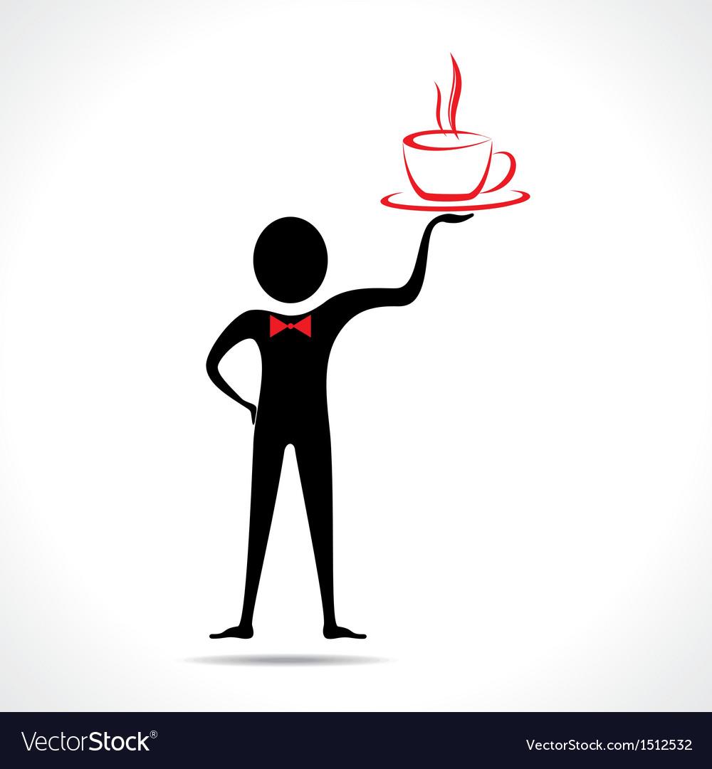 Man holding a coffee mug icon vector image
