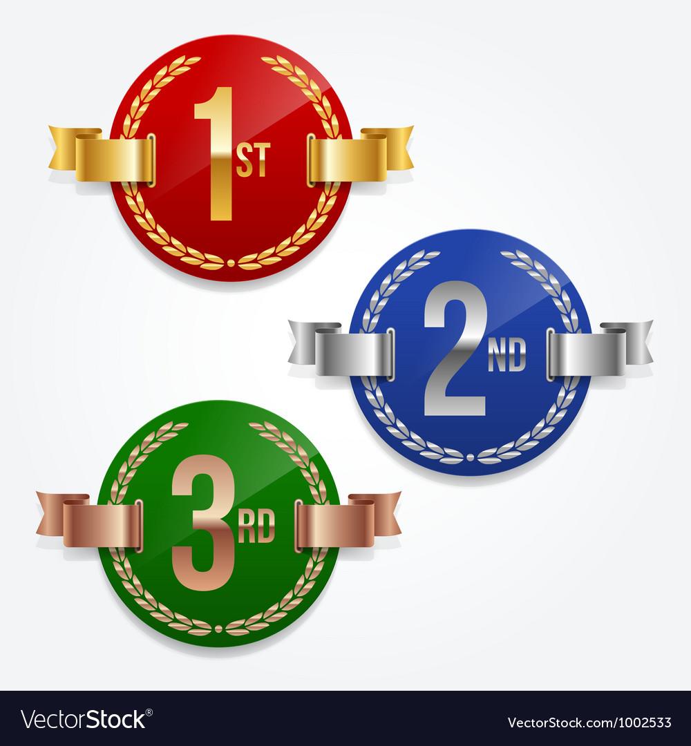 1st 2nd 3rd awards emblems vector image