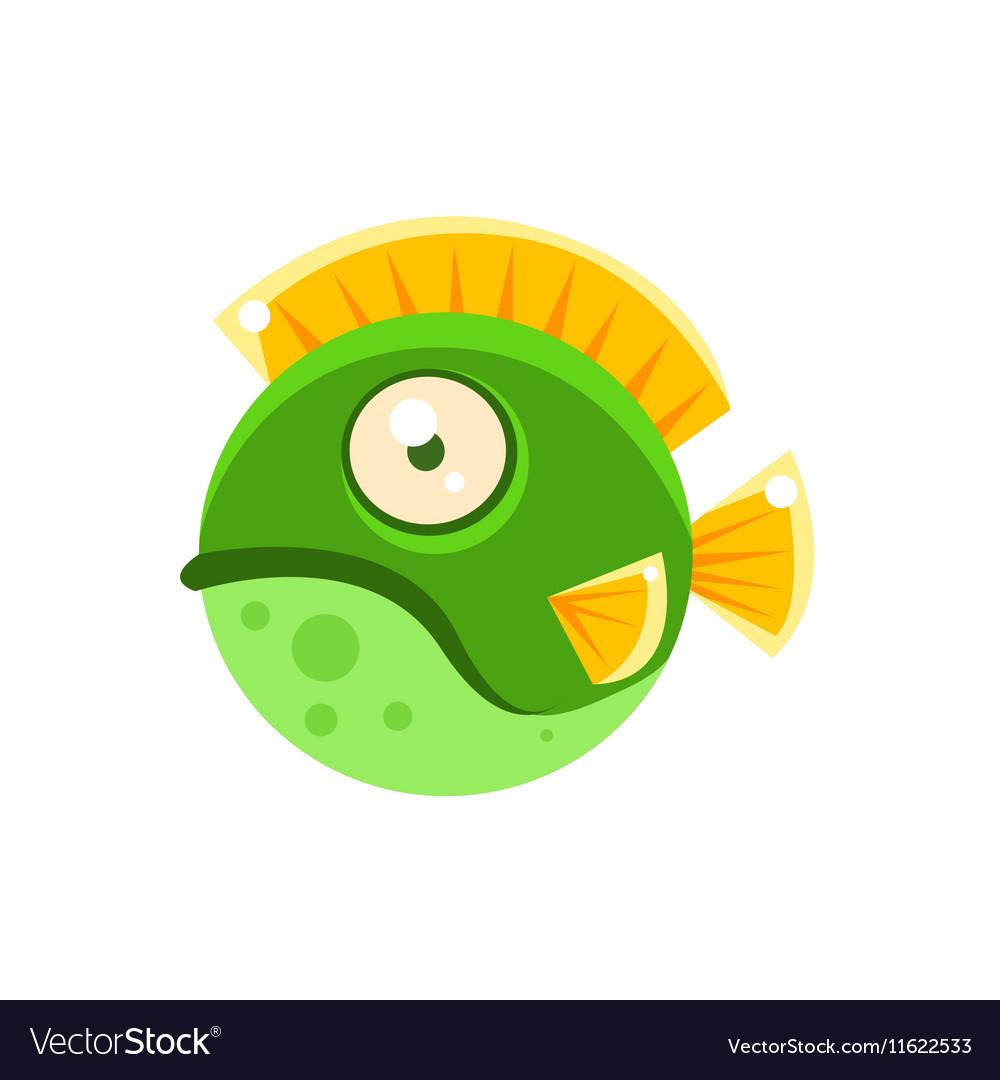 Grumpy Green Round Spotted Fantastic Aquarium vector image