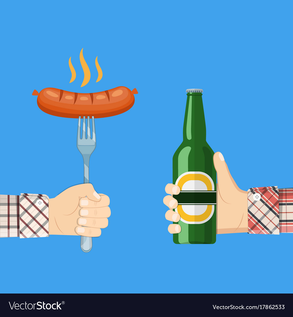 Sausage on fork and bottle of beer in hand vector image