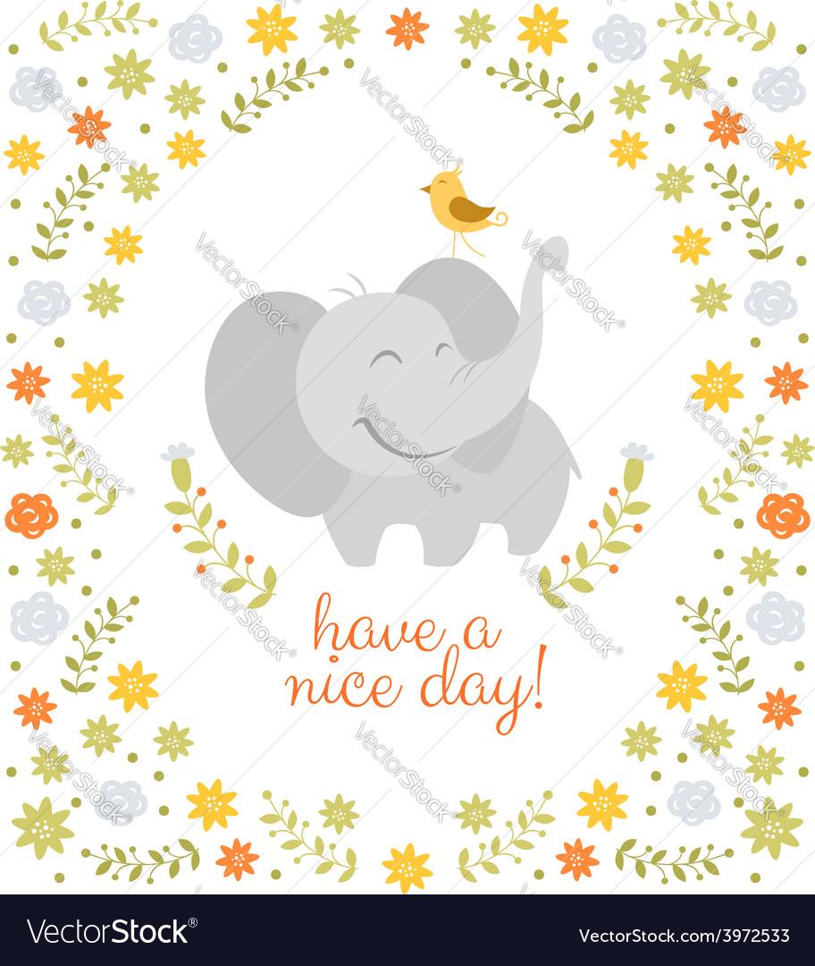 Smiling elephant on floral background vector image