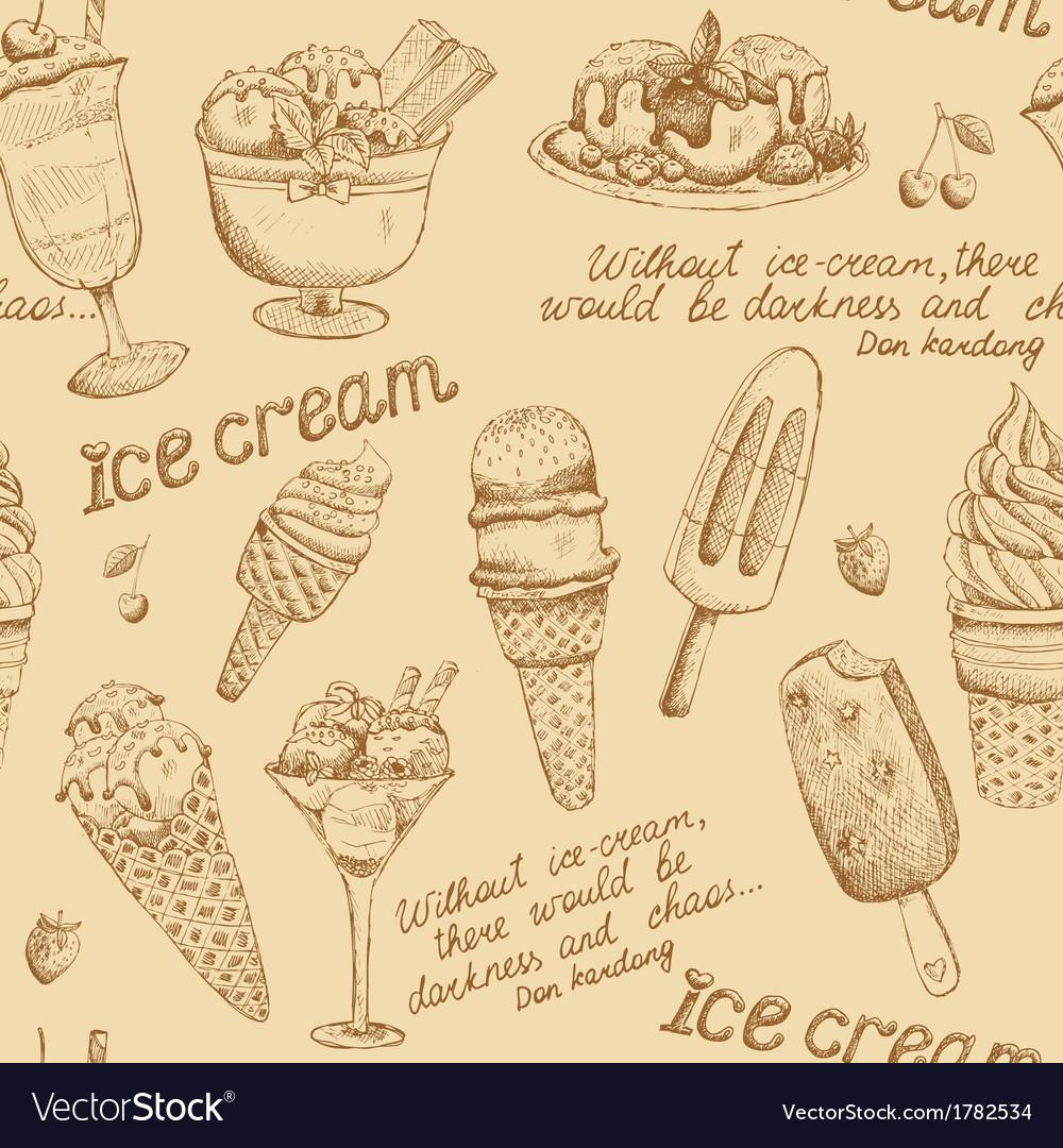 Ice cream vintage pattern vector image