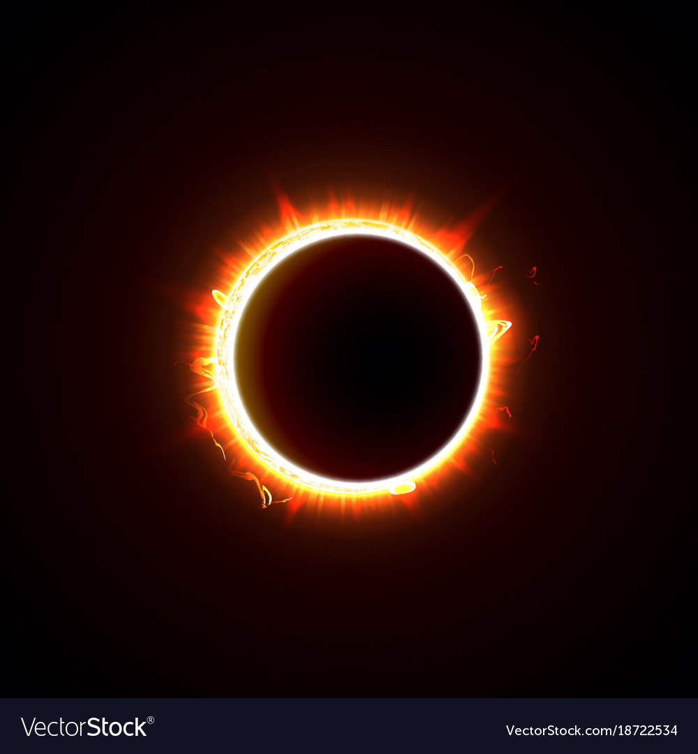 Solar eclipse on a black background vector image