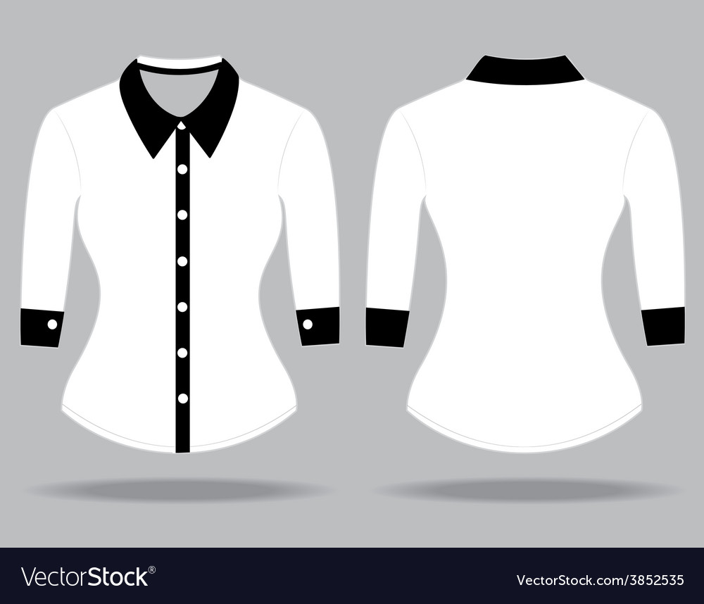 Blank shirt with long sleeves template for woman Vector Image