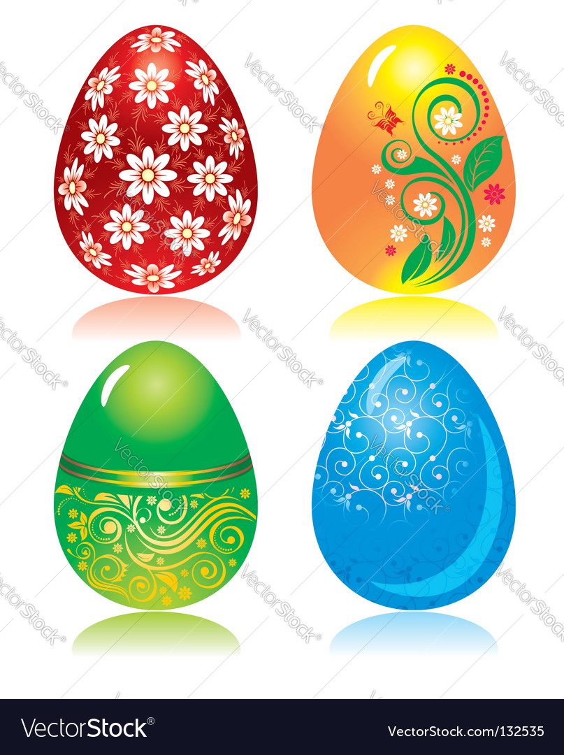 Set of ornate Easter eggs vector image