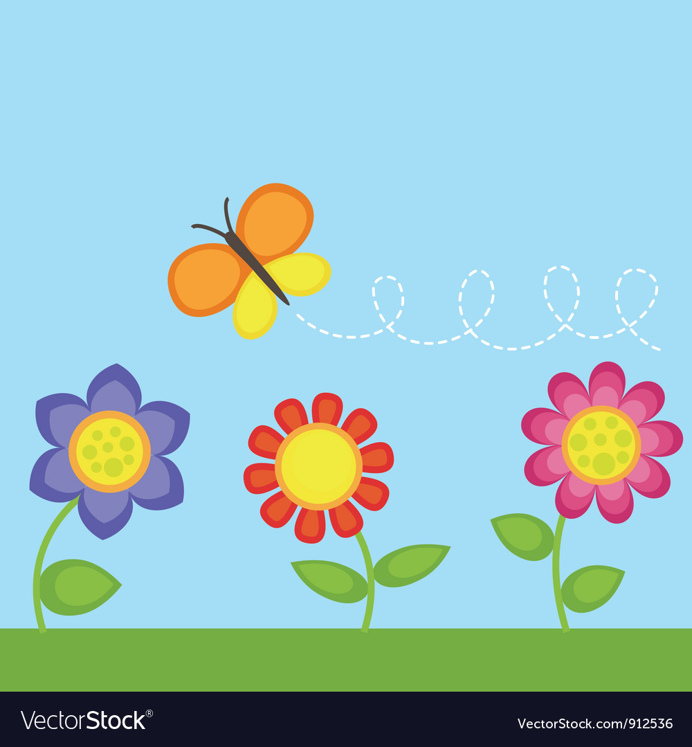 Flowers and butterfly vector image