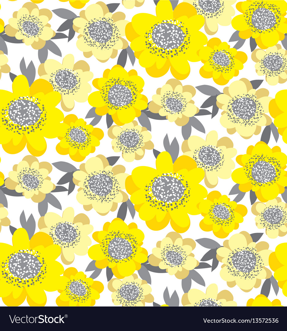 Gold stylized floral seamless pattern abstract vector image