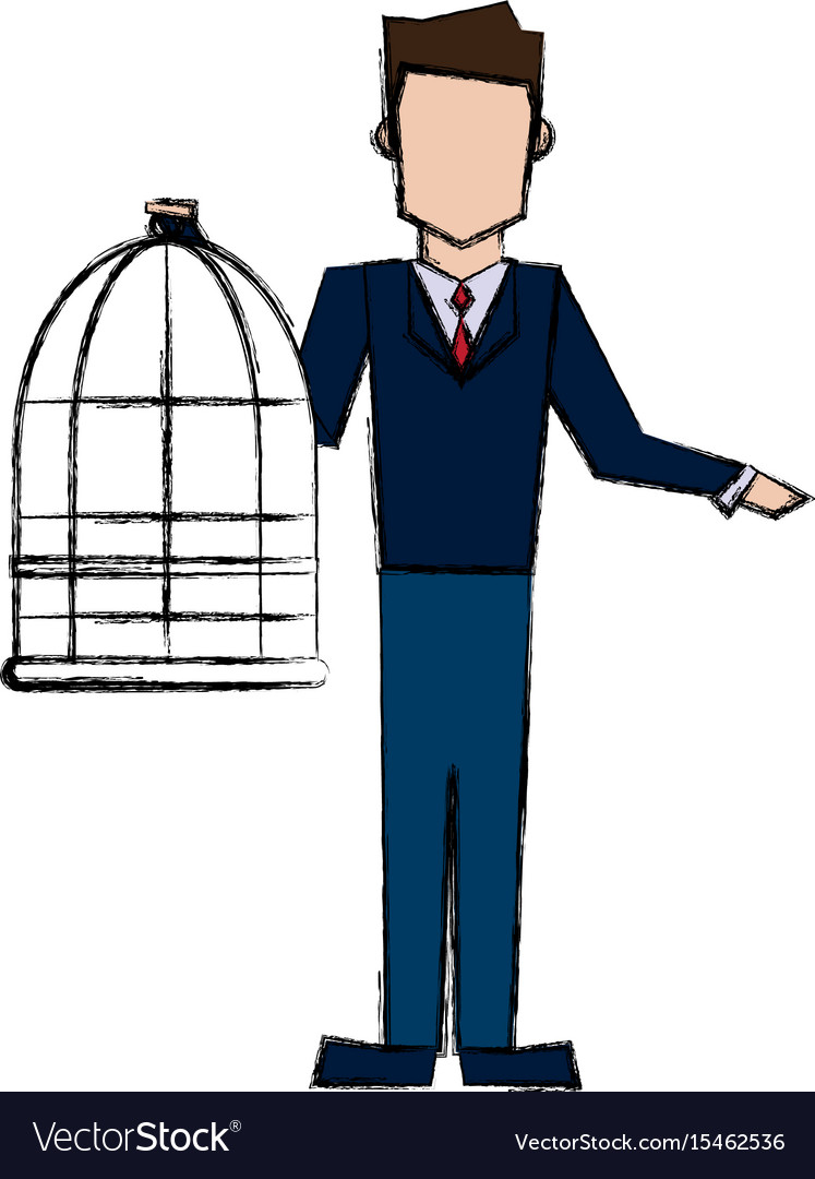 Man holding a cage empty veterinary concept vector image