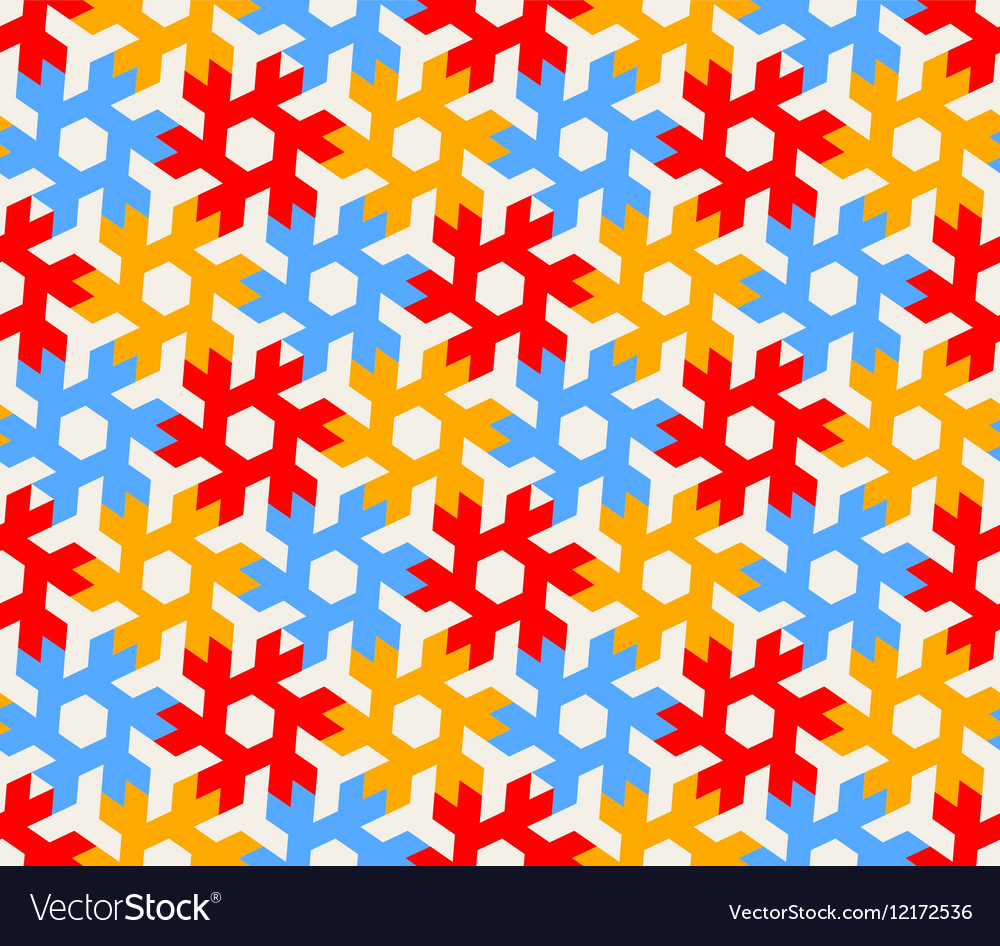 Seamless Geometric Hexagonal Red Blue vector image