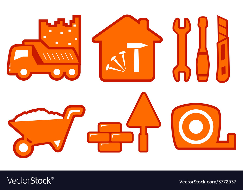 Industrial set with construction icons vector image