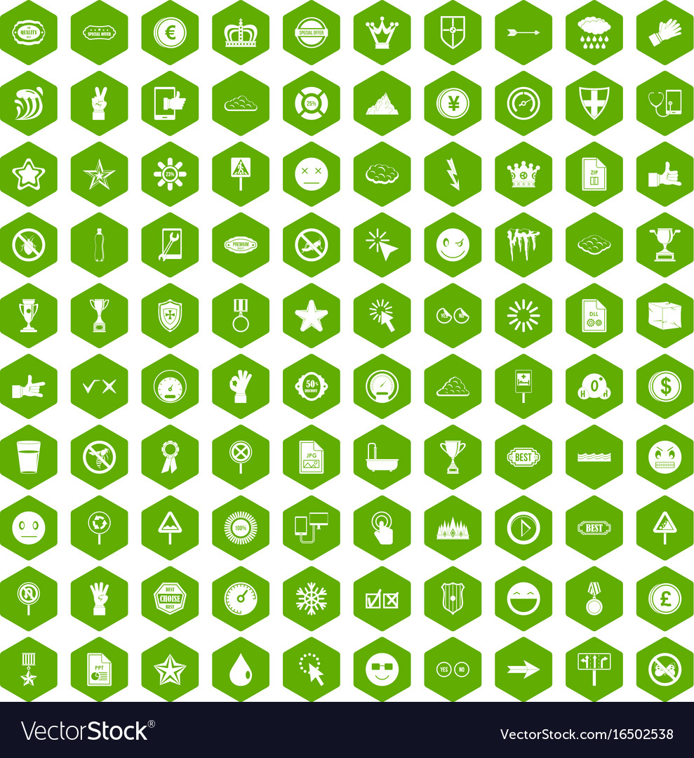 100 symbol icons hexagon green royalty free vector image 100 symbol icons hexagon green vector image buycottarizona Image collections