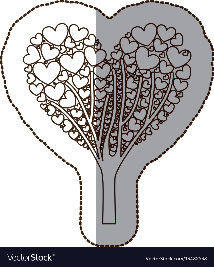 Figure tree with heart leaves icon vector image
