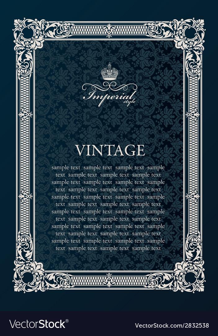 Label frame Vintage antique decor ornament vector image