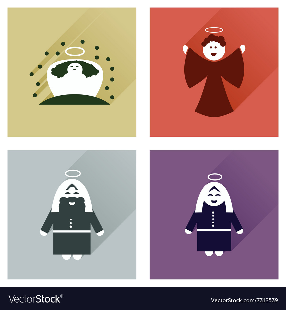 Concept of flat icons with long shadow holy Family