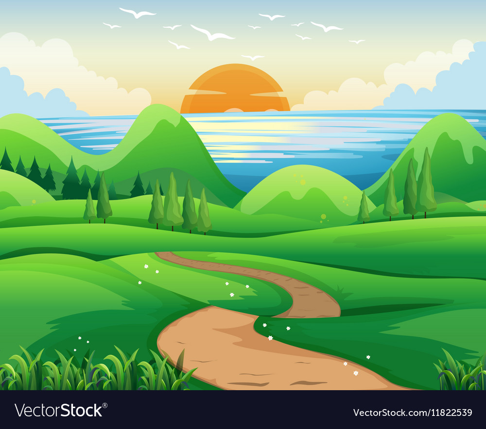 Scene with sunset at sea vector image