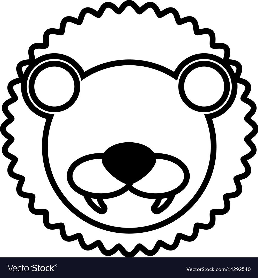 Outline lion head animal vector image