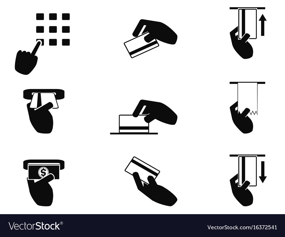 Atm hand control icons set vector image