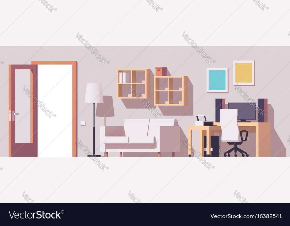 Home office interior vector image