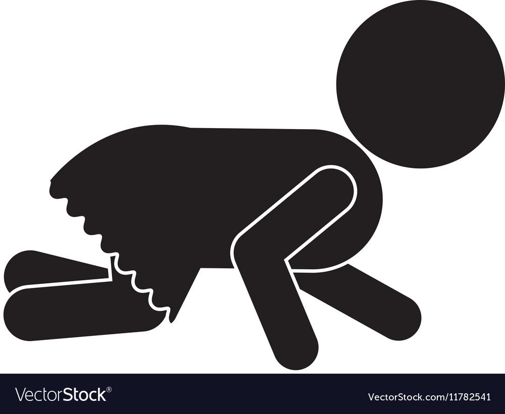 Pictogram of little baby girl crawl vector image