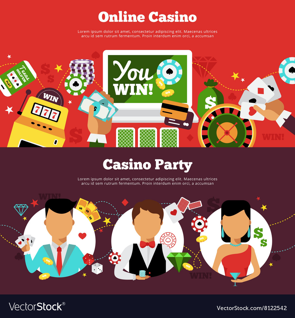 Casino Horizontal Banners Set vector image
