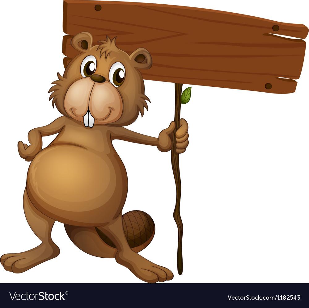cartoon beaver signboard royalty free vector image