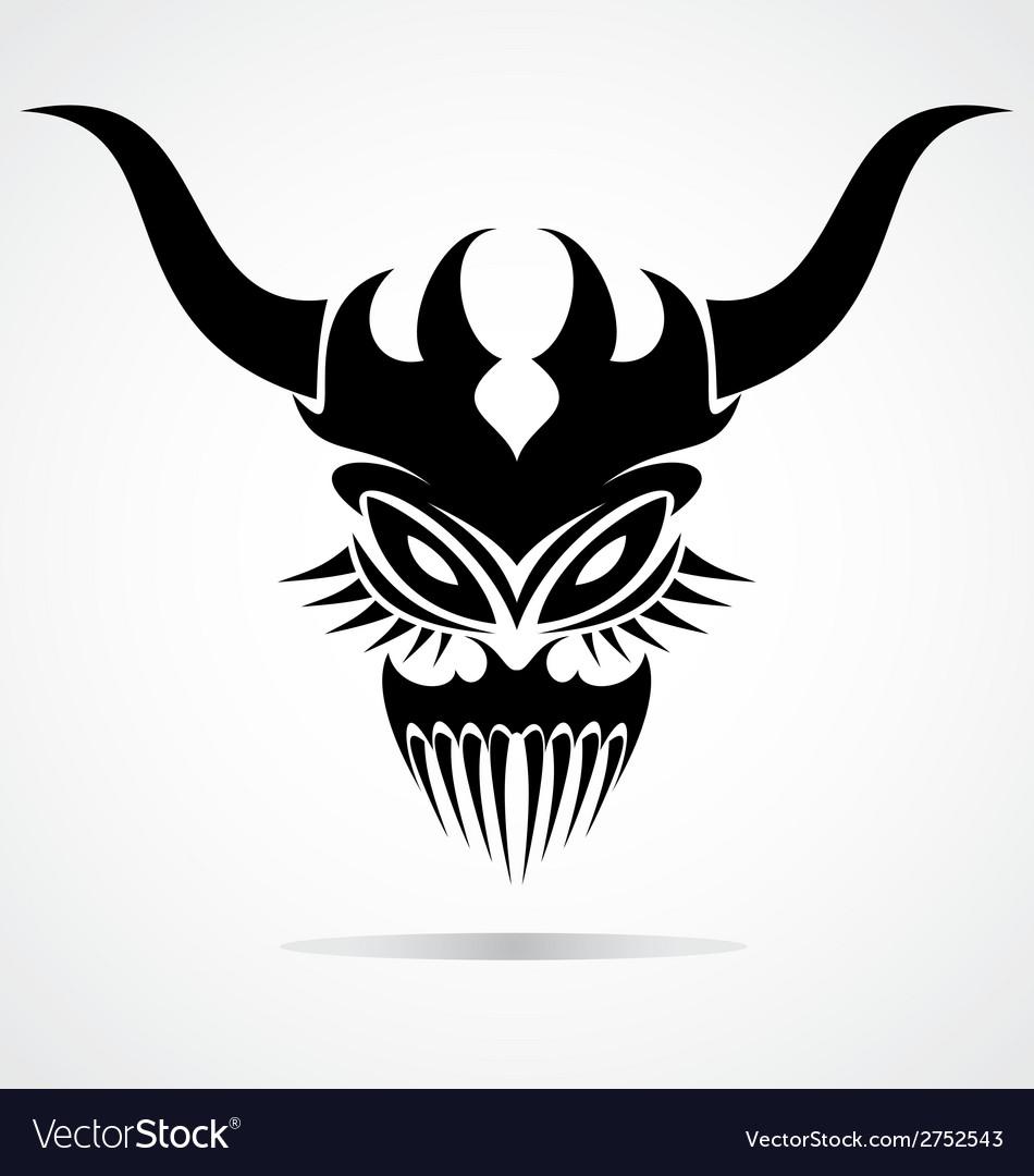 Demon Mask Tattoo vector image