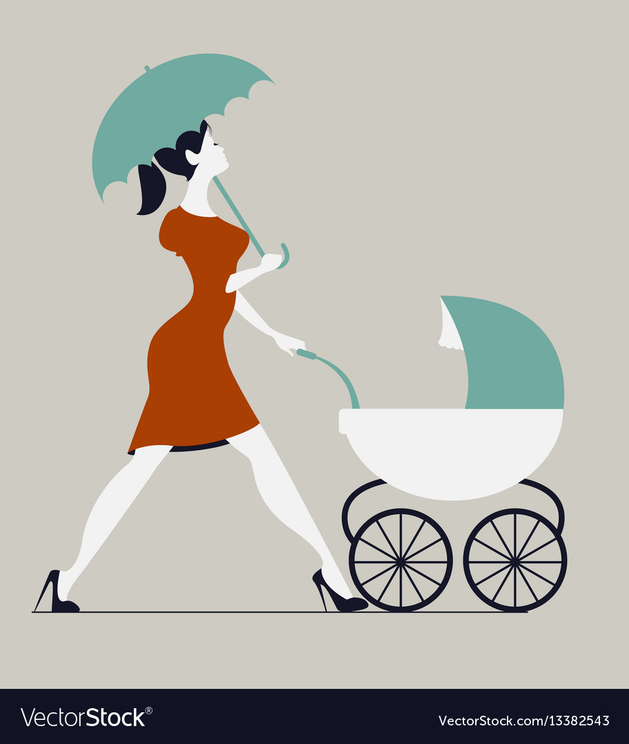 Young woman walking with stroller under rain vector image