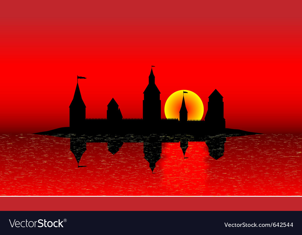 Black silhouette of the castle vector image