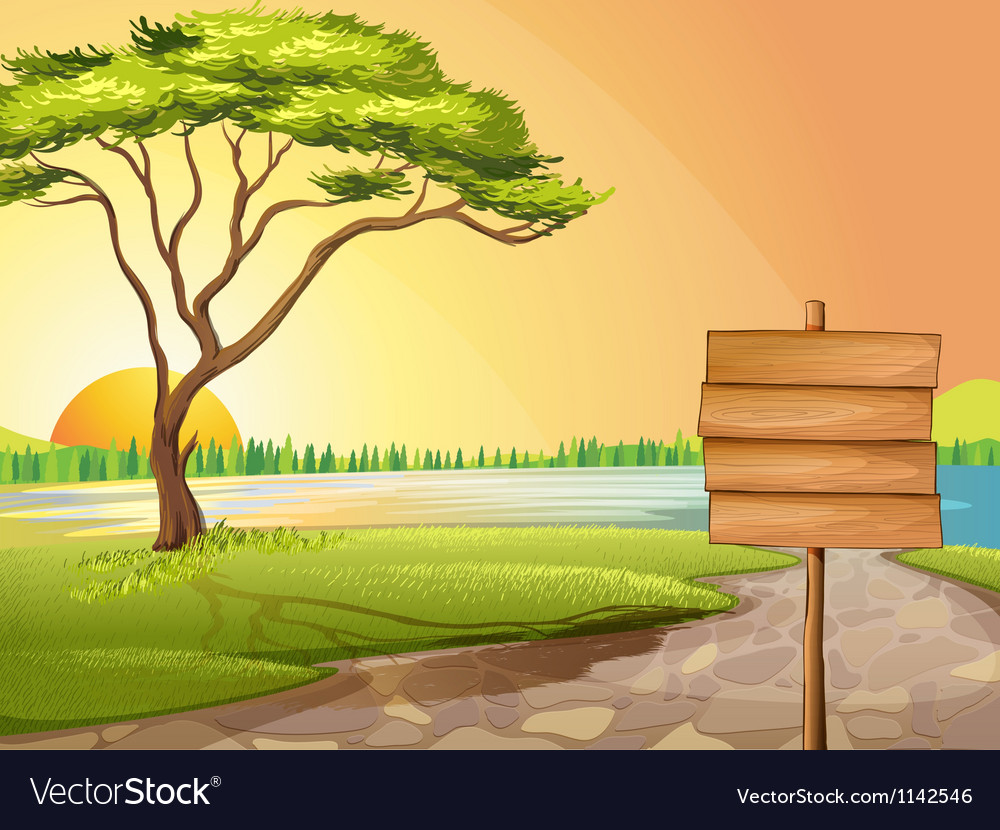 A blank wooden signboard in the street vector image
