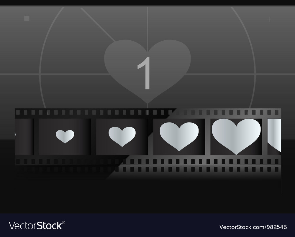 Film with heart in frames and screen on background vector image