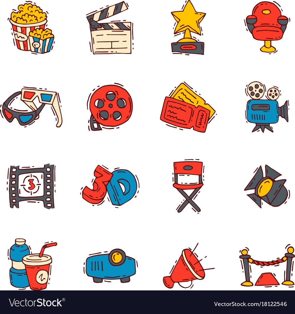 Movie making creator hand drawn sketch style icons vector image
