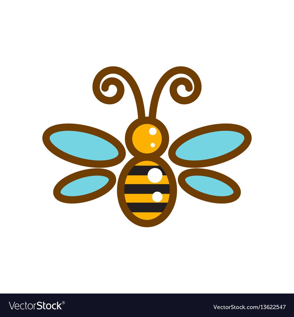 Honeybee line icon isolated vector image