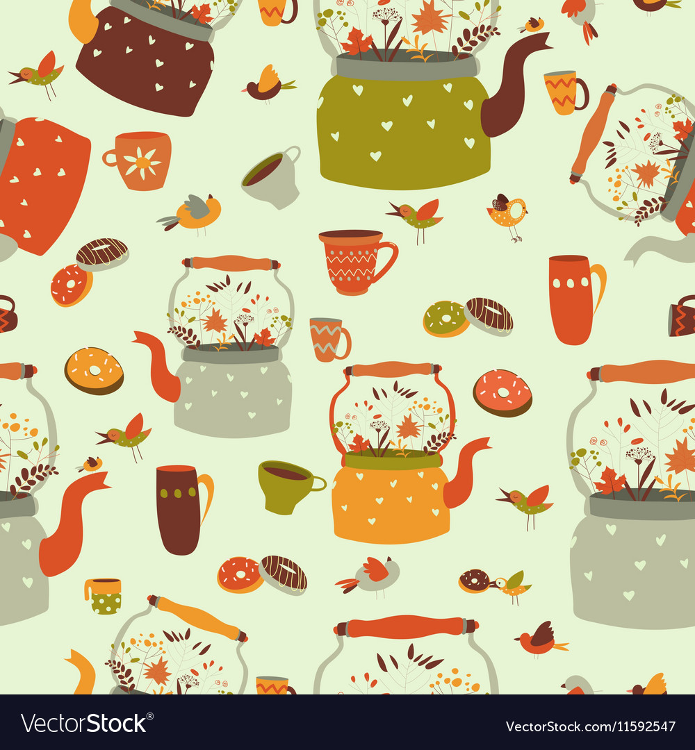 Seamless pattern background with tea related vector image
