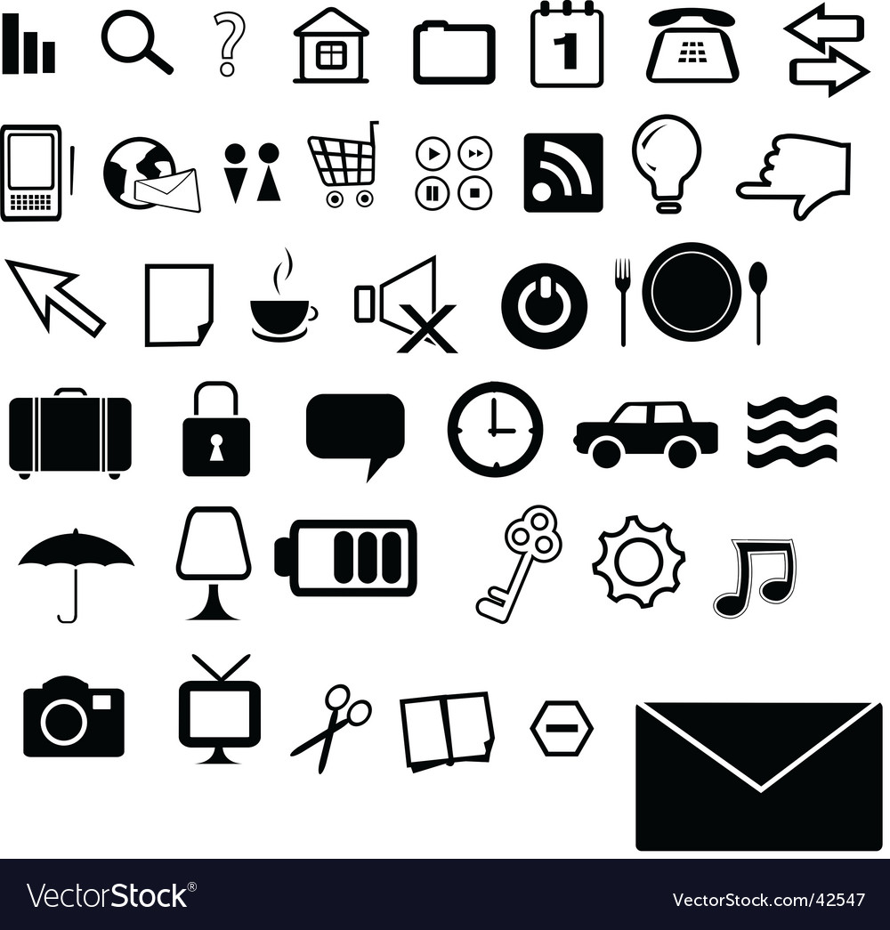 Set of 40 black and white icons vector image
